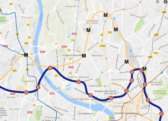 Deux tracés concurrents : en rose saumon le tracé Tisseo, en bleu le tracé alternatif qui desservirait les Chalets et beaucoup plus d'habitants que le précédent.