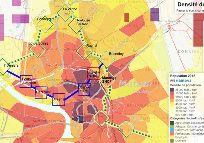 Fond de carte : densité de population (INSEE 2012)- Tracé nord Tisséo (couleur verte) / tracé centre (bleu). Une station Chalets-Raisin (rouge, à cheval sous le canal) termine le passage au centre
