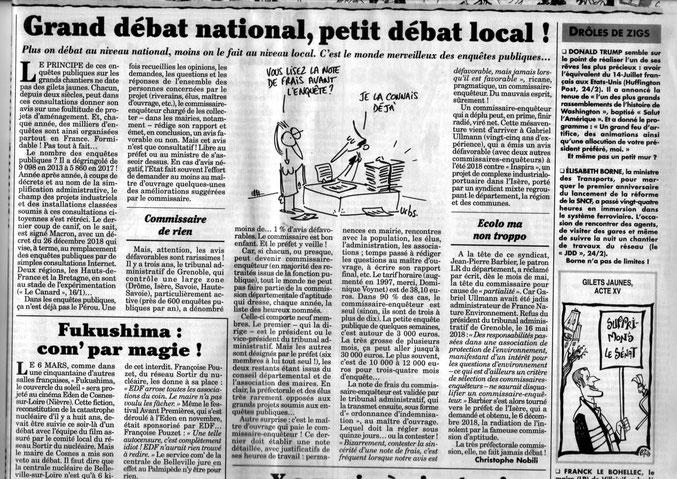 Article paru dans le Canard Enchainé fin février 2019