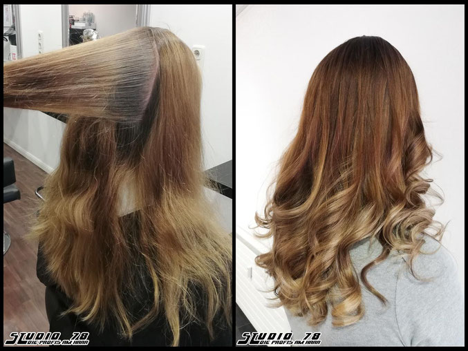 Coloration Haarfarbe brown braun balayage coloration vorher nachher