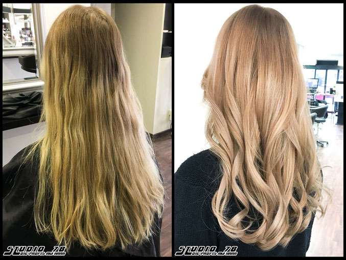 Coloration Haarfarbe blonde nude-blonde blond balayage coloration vorher nachher