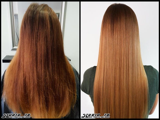 Coloration Haarfarbe  copper brown balayage coloration vorher nachher