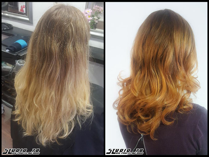 Coloration Haarfarbe  copper kupfer copperhaircolor coloration vorher nachher