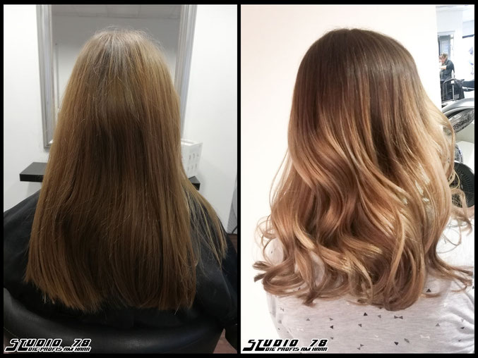 Coloration Haarfarbe blonde blond balayage coloration vorher nachher