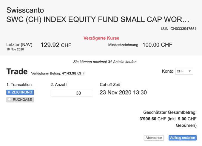 Kauffenster eines Indexfonds bei Swissquote
