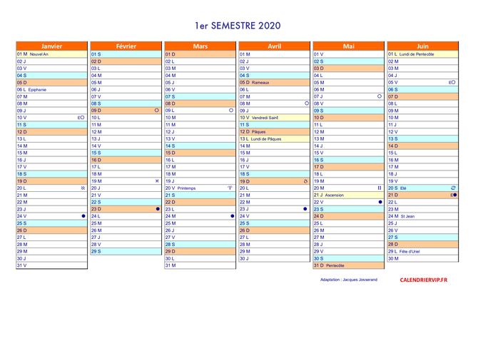 Calendrier annuel 2020 suisse en format excel et pdf (1er semestre)