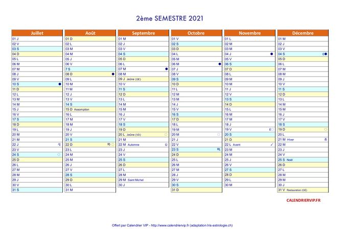 Calendrier annuel 2021 suisse en format excel et pdf (2ème semestre)