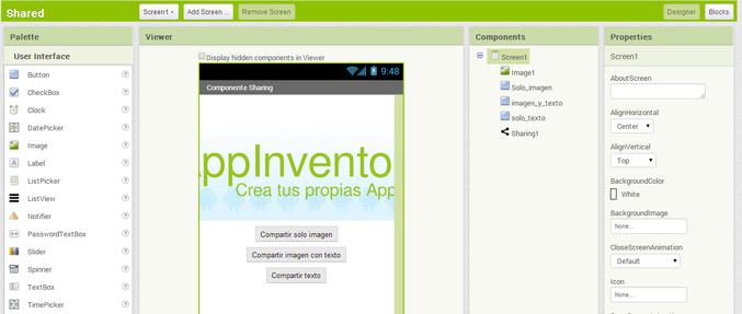 Componente Sharing App inventor