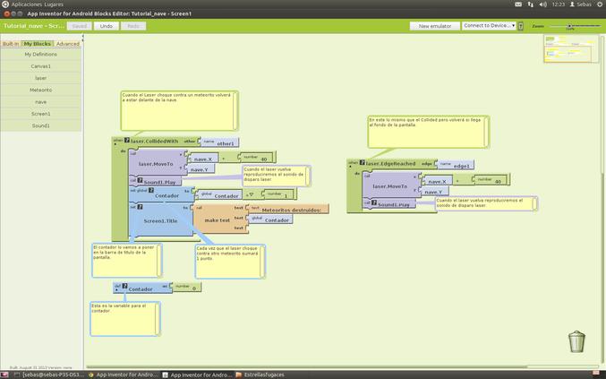 Bloques agregados para la segunda parte del tutorial para crear nuestro juego de naves con App Inventor