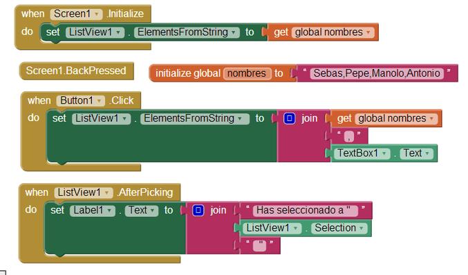 Bloques del componente listview de App Inventor 2