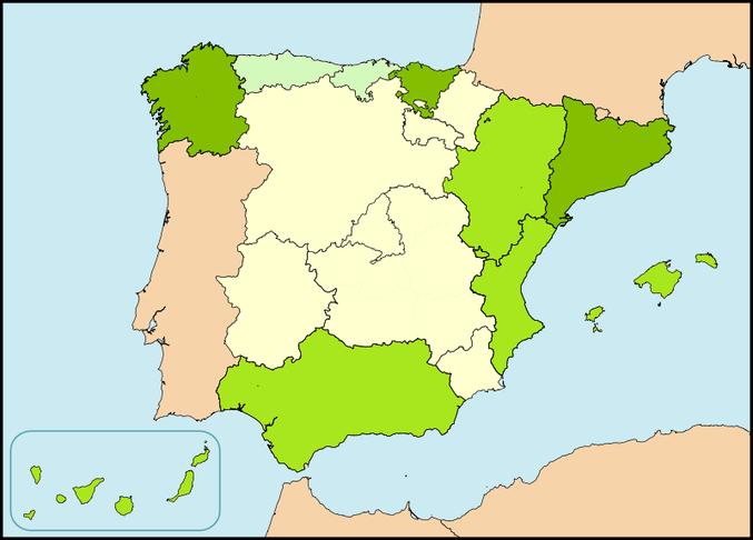 Mapa de las llamadas nacionalidades históricas.