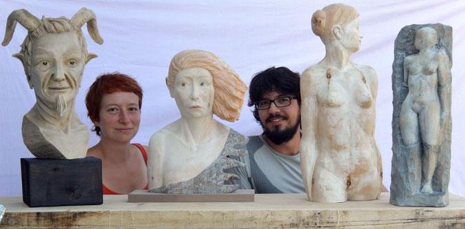 Daniela Wögerer und Reinhard Kofler mit einigen aktuellen Werken