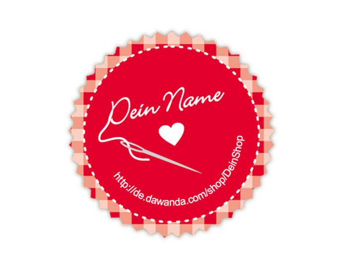 Handmade Aufkleber in rot mit Nähnadel und Herz: personalisierbar mit deinem Shopnamen / Webseite