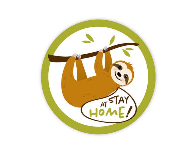 Verpackungsetiketten - Statement Aufkleber - Faultier - stay at home - wir bleiben zu Hause - gemeinsam gegen Corona - zum kleben auf Verpackungen wie Briefe, Pakete, Verpackungen