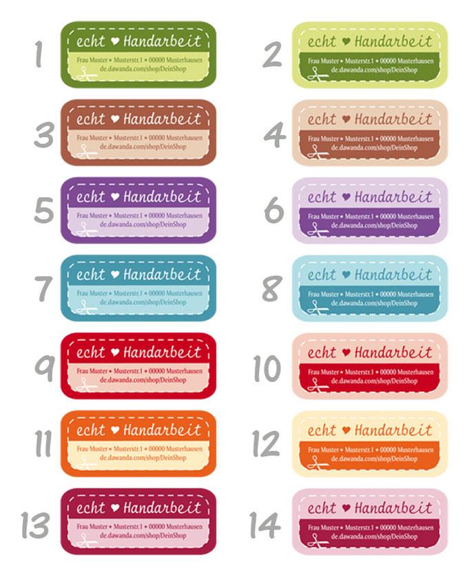 Adressaufkleber für dein Label: Echt Handarbeit - große Farbauswahl