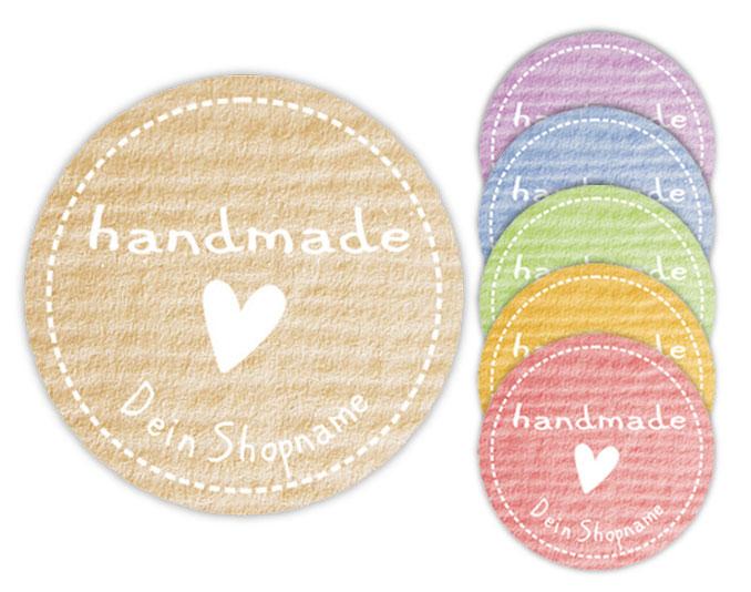 Handmade Aufkleber Herz: personalisierbar mit deinem Shopnamen / Webseite