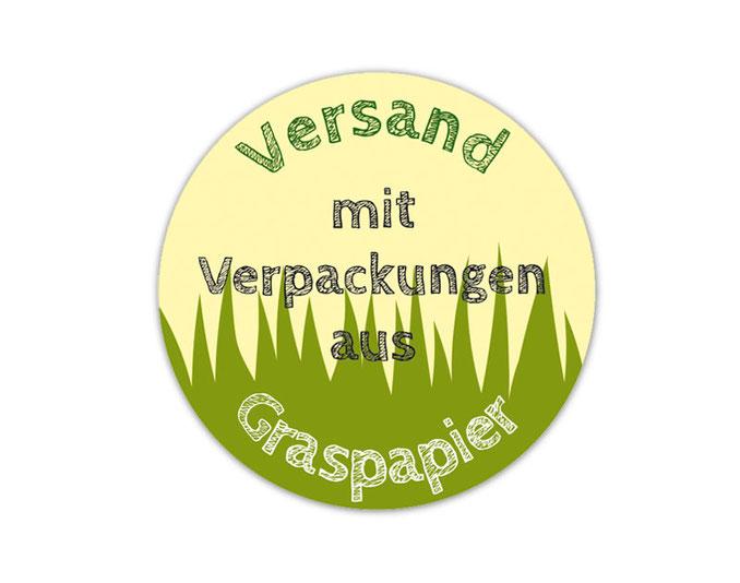 Verpackungsetiketten - Umweltschutzaufkleber für Verpackungen:  Versand mit Verpackungen aus Graspapier