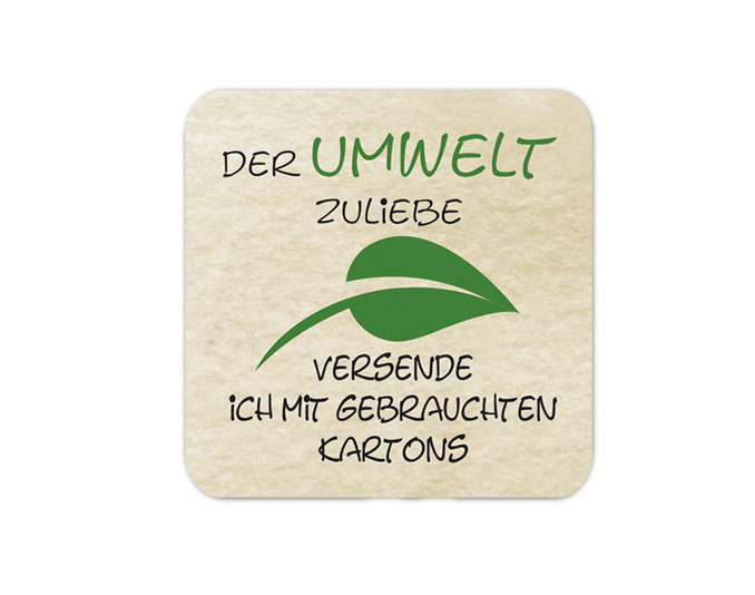 Verpackungsetiketten - Umweltschutzaufkleber für Verpackungen:  Der Umwelt zuliebe - Versand mit gebrauchten Kartons