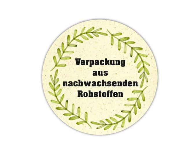 Verpackungsetiketten - Umweltschutzaufkleber für Verpackungen:  Verpackung aus nachwachsenden Rohstoffen