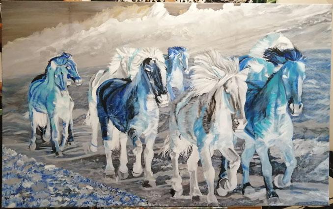 """Work in progress. """"Waterhorses"""". 160 x 100 cm, oil on canvas"""