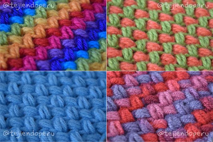Punto frijo tejido a crochet - Crochet bean stitch - Tejiendo Perú