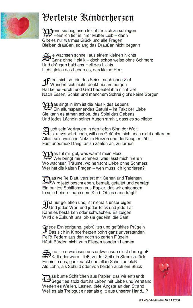 Verletzte Kinderherzen, Gedicht, Peter Adam, pa-foto.com