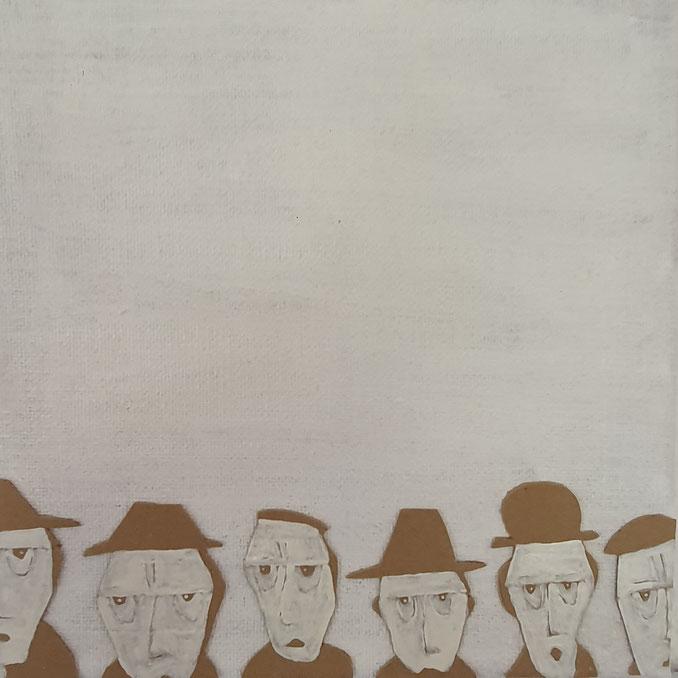 Cardboard Art Bild von mehreren Männerköpfen