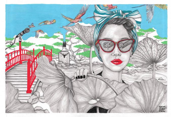 Évasion, 70x50 cm - posca, aquarelle, crayon graphites sur papier - 2019