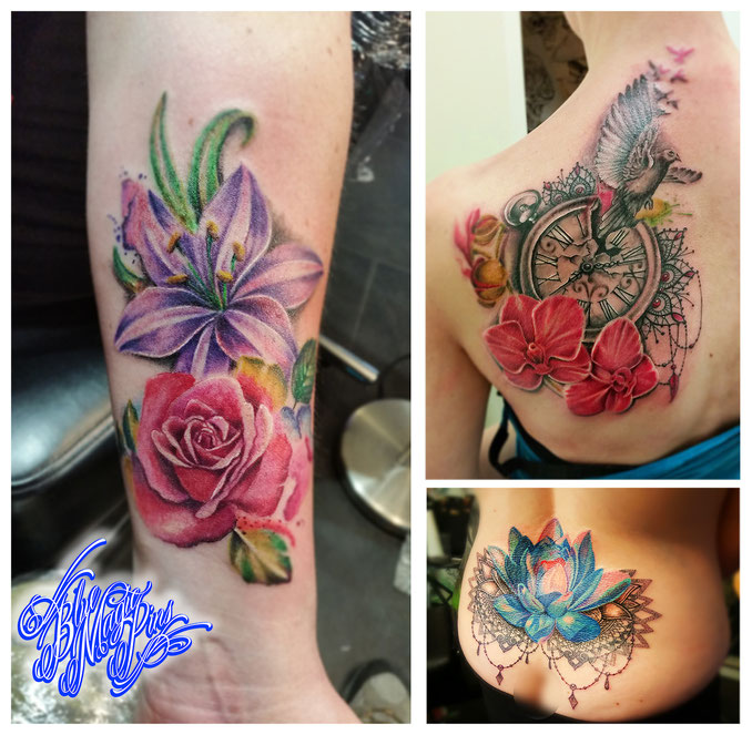 Blue Magic Pins Tattoo shop Belgium Genk custom design realistic black and grey watercolor flowers feminine tattoos sexy beautiful girl sleeve for women watercolor rose lily orchid bird clock mandala lotus aquarel tattoos