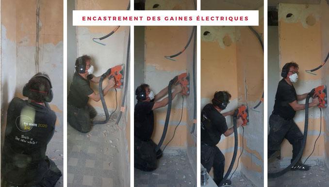 Thierry Besançon :Rénovation électrique encastrement des gaines électriques dans les murs