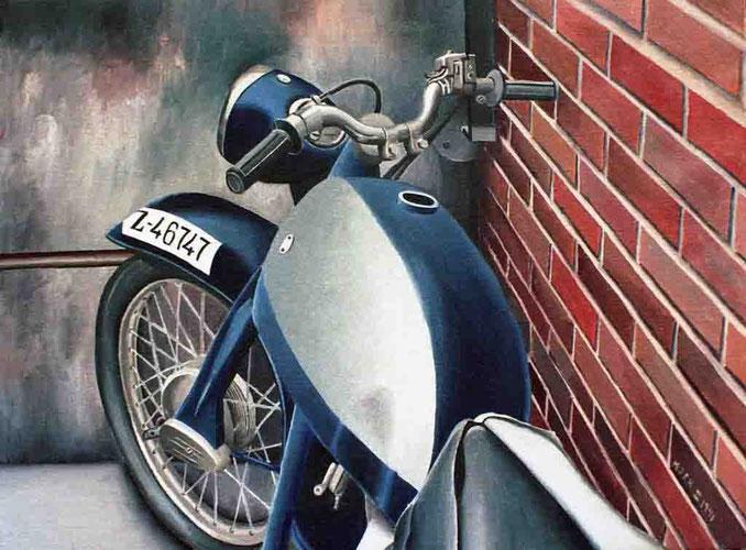 Moto 1991, óleo sobre lienzo 33X40 cm