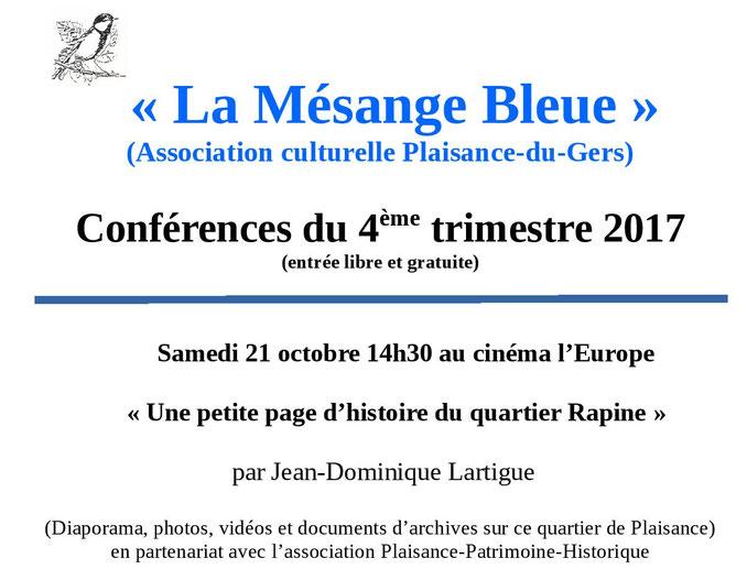 Conférence Rapine Plaisance du Gers Mésange Bleue Lartigue Jean-Dominique