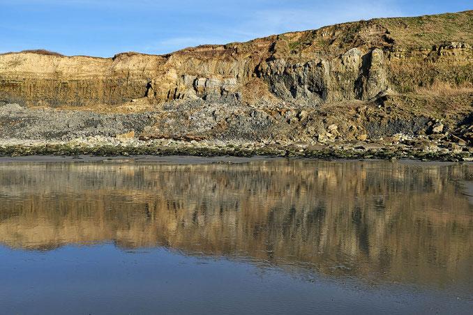 Mathieu Guillochon, photographe, couleurs, rivages, France, pas de Calais, Wilereux, falaise, marée basse, effet miroir, estran,