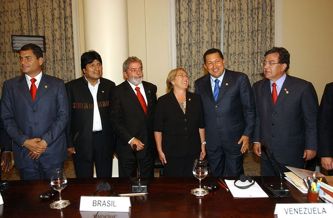 """Il """"ciclo progressista"""" incarnato da alcuni dei suoi esponenti: Chavez, Morales, Lula, Correa."""