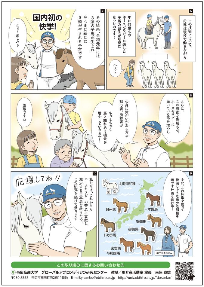 ホースセラピー普及への貢献と 減少する日本馬を守る活動のチラシ 裏面