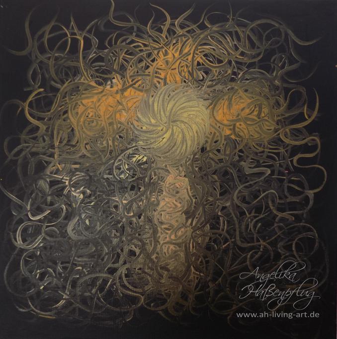 Acryl Bild mit Rahmen, Gold Kreuz