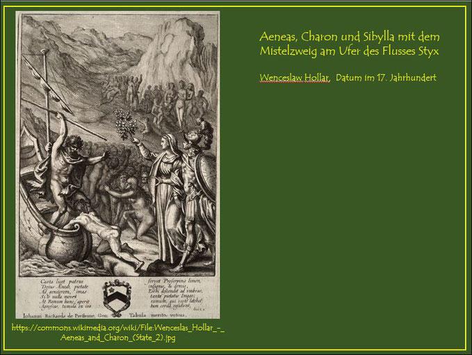 Aeneas, Charon und Sibylla mit dem Mistelzweig am Ufer des Styx