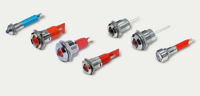 LED Signalleuchten für Pult, Schaltschrank onder Frontplattenmontege in Mimik-Tableaus