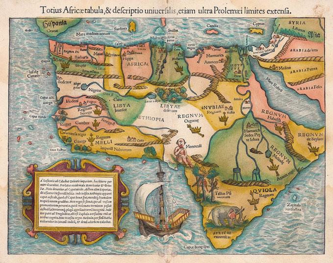 La mappa africana di Tolomeo del 1554 di Sebastian Münster