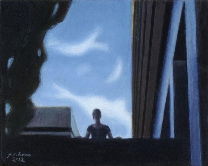 philipp christoph haas | [ohne titel] aus der serie 'figur im raum', akryl auf leinwand, 35x42cm, 2012