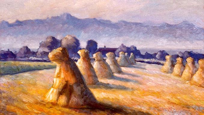 Die späte Zeit seines Lebens wo Tell Rochat, nunmehr in Pied-du-Jura lebend, Motive aus der Gegend malt; wie zum Beispiel diese bewundernswerten Garben, welche beinahe lebendig erscheinen und ihre Köpfe wie als Zeichen der Andacht senken