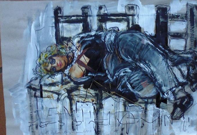 Emilia in Fesseln, Zeichnung, Collage, 2003