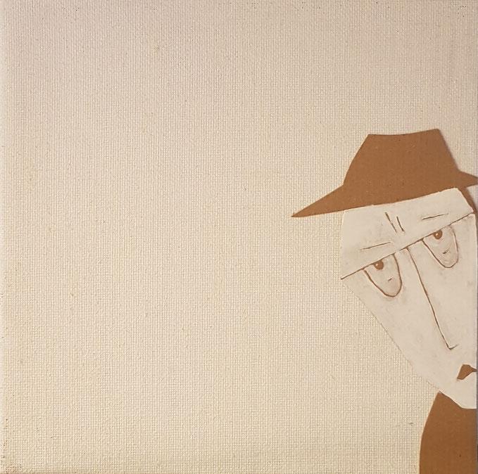 Cardboard Art Bild von einem neugierigen Mann