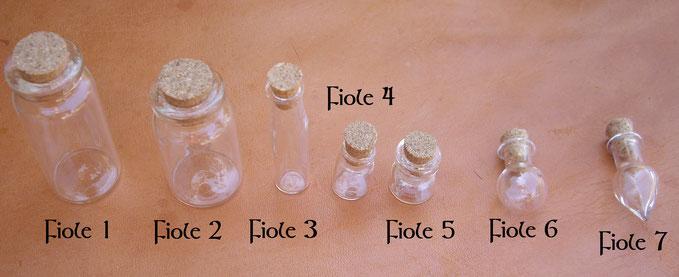 Comparaison de la taille des fioles en verre