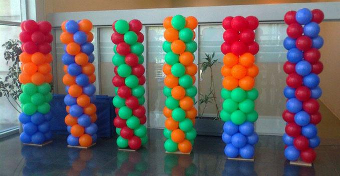 columnas de globos para decoracion de fiesta