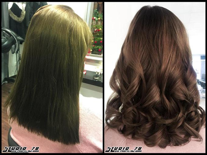 Coloration Haarfarbe Braun toffee-brown brown hair haircolor brownhair karamellbraun karamell toffee braun vorher nachher