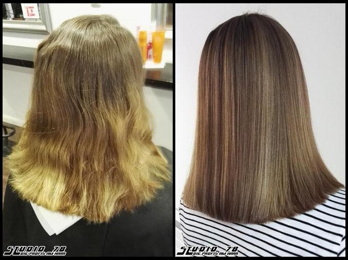Coloration Haarfarbe Braun brown silver silber vorher nachher