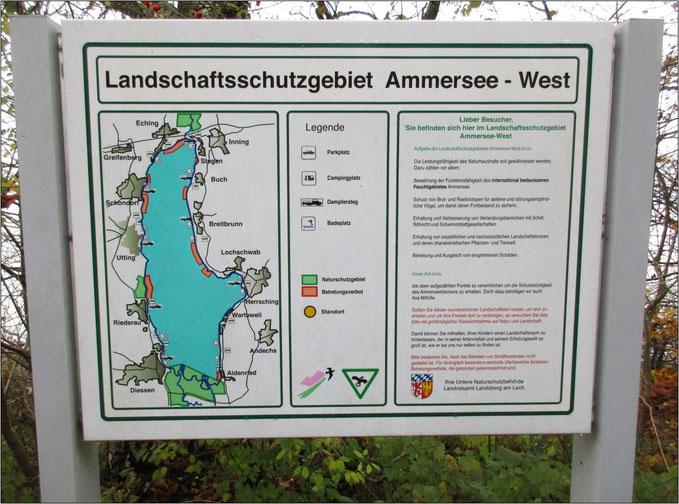 Der Ammersee mit allen Ortschaften und Gebieten.