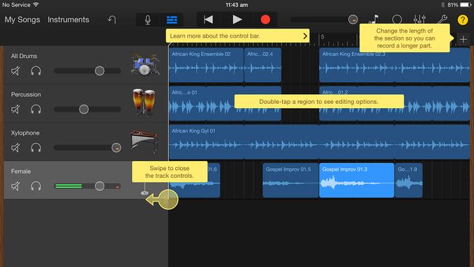 Garageband iOS help view
