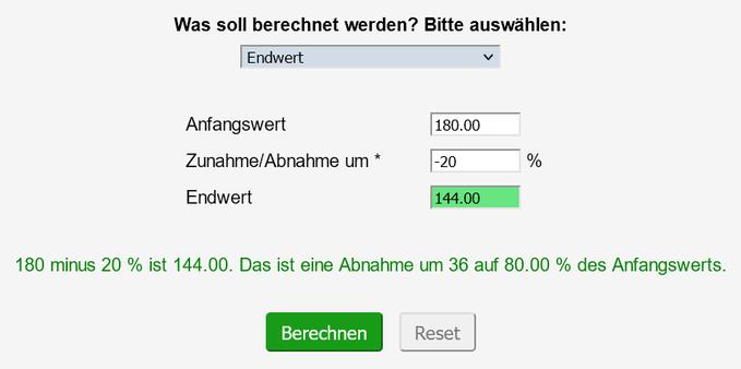 Screenshot des ausgefüllten Prozentrechners zur Berechnung des Kaufspreises
